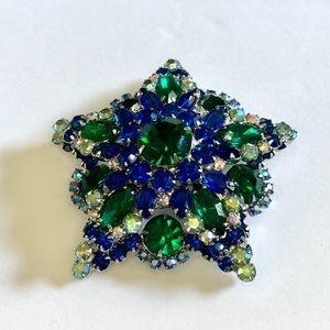 Vtg Juliana Blue & Green Rhinestone Star Brooch